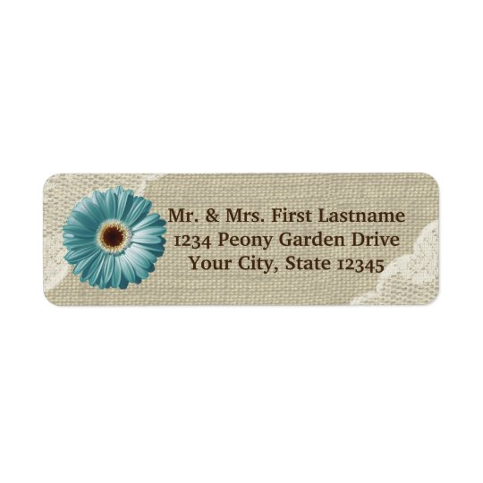 Teal Gerbera Daisy and Lace Return Address Label