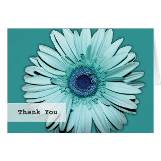 Teal Gerbera Daisy Wedding Thank You Note Card