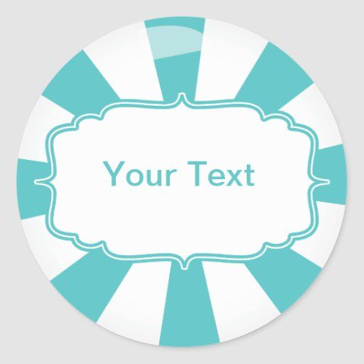 Teal Giant lollipop candy Buffet label Stickers