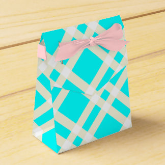 Teal Gingham Tent Style Favor Box