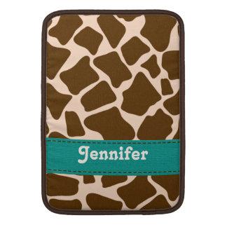 Teal Giraffe Print Macbook Air Sleeve 13 / 11 Inch