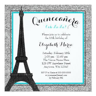 Teal Glam Paris Faux Silver Glitter Quinceanera Card