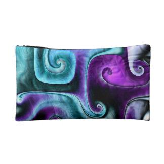 Teal Glass fractal art Makeup Bag