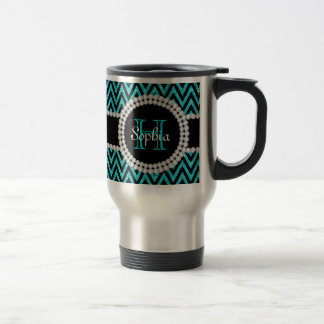 Teal Glitter Black Chevrons Monogram Travel Mug