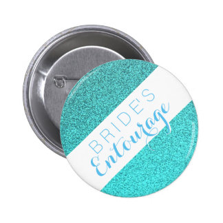 Teal glitter bride's entourage bridesmaid button