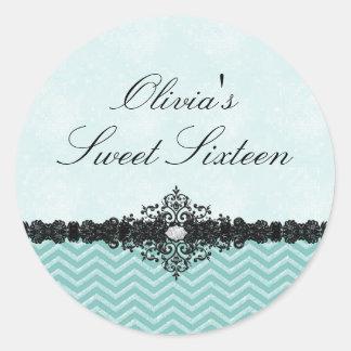 Teal Glitter Chevron & Damask Sweet 16 Sticker