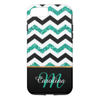 Teal Glitter, Chevron  Name and Monogram iPhone 8/7 Case