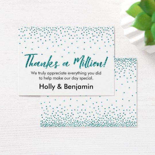 Teal Glitter Confetti Script Thanks a Million Card