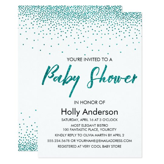 Teal Glitter Confetti & Typography Baby Shower Card