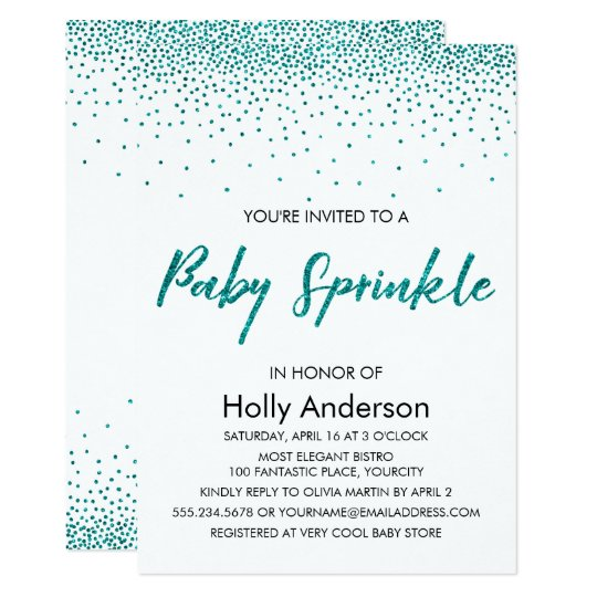 Teal Glitter Confetti & Typography Baby Sprinkle Card