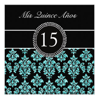 TEAL GLITTER EFFECT BLACK DAMASK QUINCEANERA INVITATION