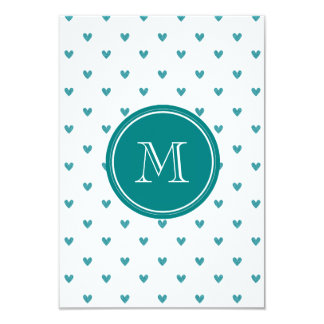 "Teal Glitter Hearts with Monogram 3.5"" X 5"" Invitation Card"