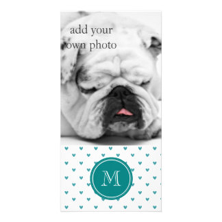 Teal Glitter Hearts with Monogram Personalised Photo Card