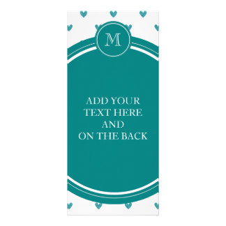 Teal Glitter Hearts with Monogram Rack Card Template