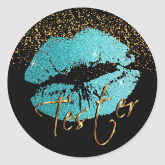 Teal Glitter Lips 3 - Tester Classic Round Sticker
