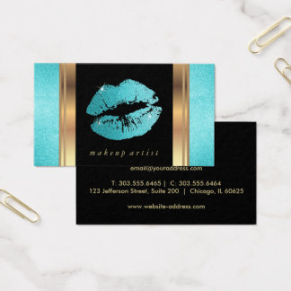 Teal Glitter Lips and Elegant Gold Business Card