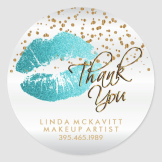Teal Glitter Lipstick on White Satin - Thank You Classic Round Sticker