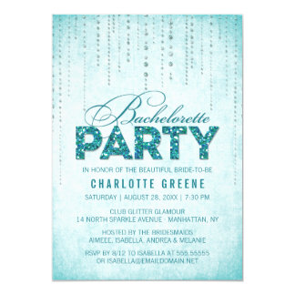 Teal Glitter Look Bachelorette Party Invitation