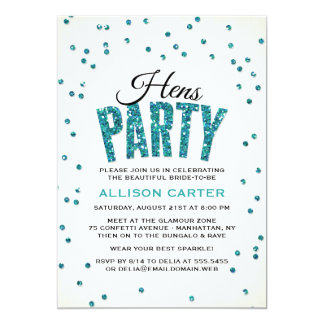 Teal Glitter Look Confetti Hens Party 13 Cm X 18 Cm Invitation Card