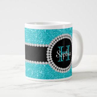 Teal Glitter Monogrammed Jumbo Coffee Mug