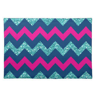 Teal Glitter Nautical Chevron Place Mats