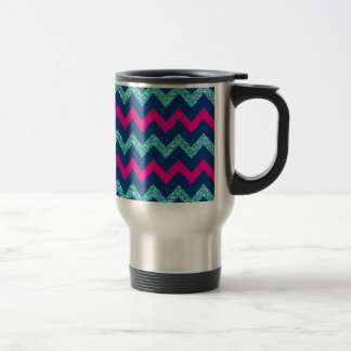Teal Glitter Nautical Chevron Travel Mug