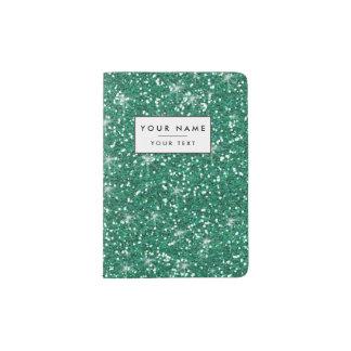 Teal Glitter Printed Passport Holder