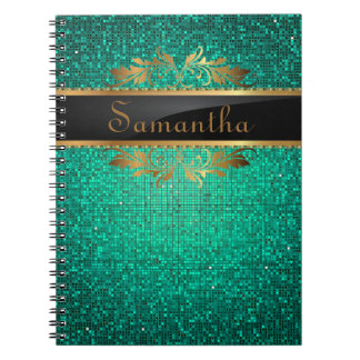 Teal Glitter Sequin Disco Glitz Spiral Notebook
