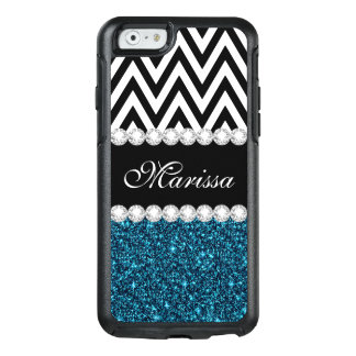 Teal Glitter Sparkles Black White Chevron OtterBox iPhone 6/6s Case