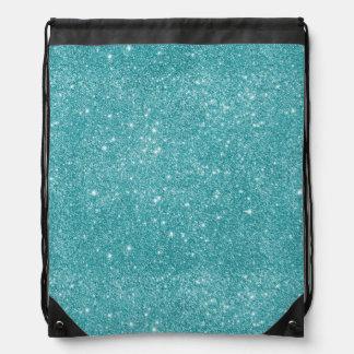 Teal Glitter Sparkles Drawstring Bag