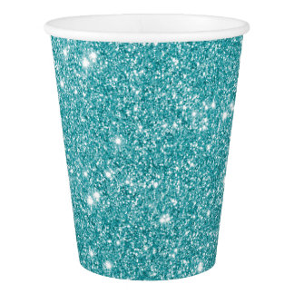 Teal Glitter Sparkles Paper Cup