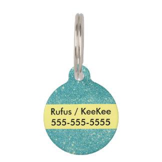 Teal Glitter Sparkles Pet ID Tag