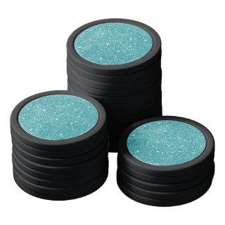 Teal Glitter Sparkles Poker Chips