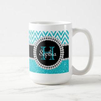 Teal Glitter White Chevron Monogrammed Coffee Mug