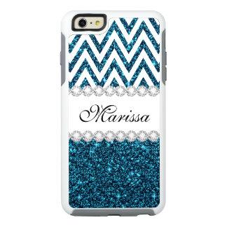 Teal Glitter White Chevron OtterBox iPhone 6 Case