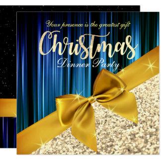 Teal Glittery Christmas Dinner Invitation