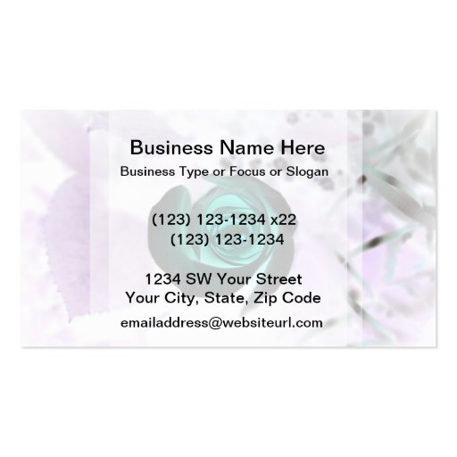 teal glowing rose neat flower image design business cards