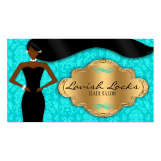 Teal Gold African American Hair Stylist Salon Business Cards