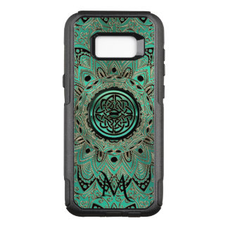 Teal Gold and Black Celtic Knot Mandala Monogram OtterBox Commuter Samsung Galaxy S8+ Case