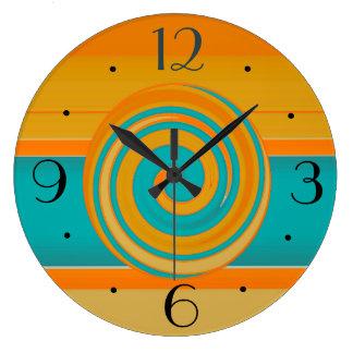 Teal Gold and Orange >Simplistic Kitchen Clocks