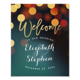 Teal Gold Bokeh Welcome Wedding Reception Sign
