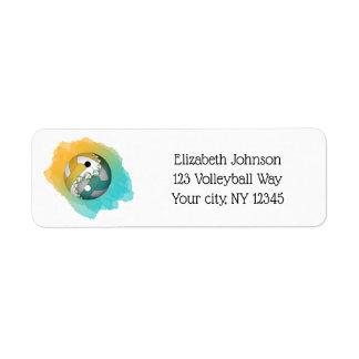 teal gold colour splash yin yang volleyball return address label