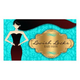 Teal Gold Damask Hair Stylist Salon Business Card