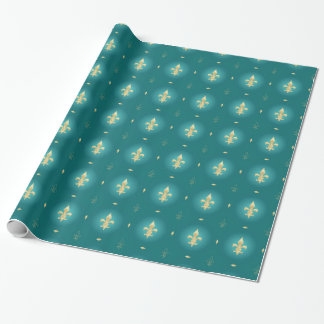 Teal & Gold Fleur De Lis Green Wrapping Paper