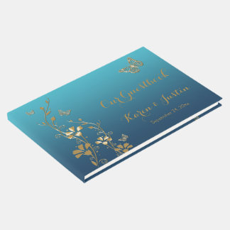 Teal, Gold Floral, Butterflies Wedding Guestbook