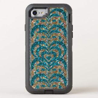Teal & Gold Glitter Spiral Vortex Hearts, Silver - OtterBox Defender iPhone 8/7 Case