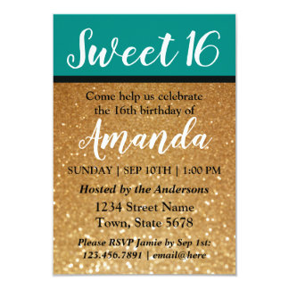 Teal & Gold Glitter | Sweet 16 Birthday Invitation
