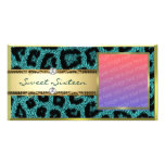 Teal Gold Leapord Pattern Photo Card Template
