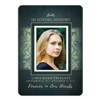 Teal & Gold Loving Memorial Service Invitation