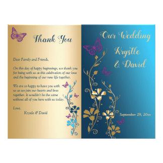Teal Gold Purple Floral Bi-Fold Wedding Program Flyer